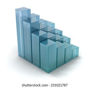 glass cubes on white backgroun d.ladder shape.