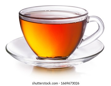 Glass cup with black tea isolated on a white background.