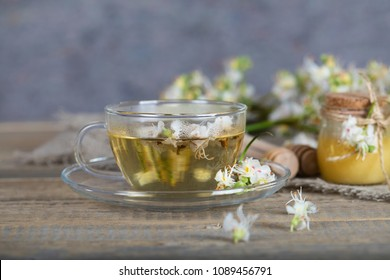 Glass cup of chestnut tea. Honey and chestnut blossoms in the background.