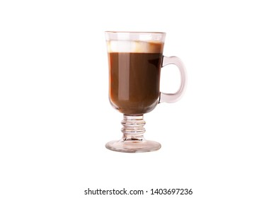 Glass cup of coffee on the white background