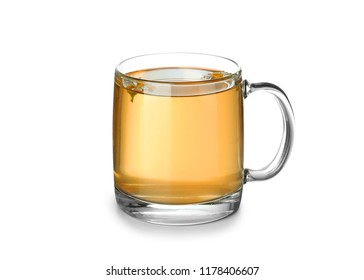 Glass cup of delicious camomile tea on white background