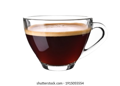 Glass cup of espresso coffee isolated on white background