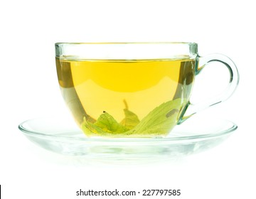 Glass cup of fresh green tea isolated on white background