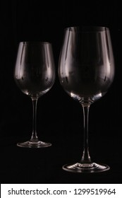 Glass cup on black background
