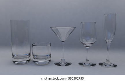 Glass cup set,isolated on white 3d render,working