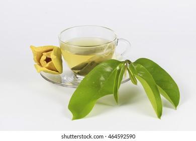 """Glass Cup of """"Soursop"""" """"Ceilona"""" Tea, Prickly Custard Apple,"""