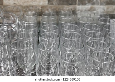 Glass cups of stock
