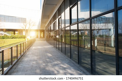 Glass curtain wall of city building, high-rise building