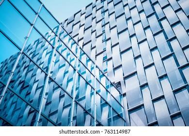 Glass Curtain Wall Closeup Modern Architectural Detail Background