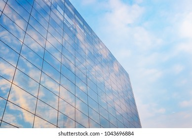 Glass curtain wall in the sunset
