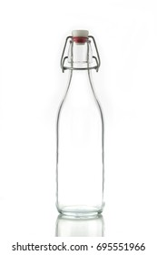 Glass Decanter With Stopper Isolated on White Background