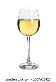 Glass of delicious expensive wine on white background