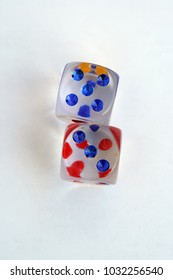 Glass dices. Colorful kids dices. Transparent glass dices.