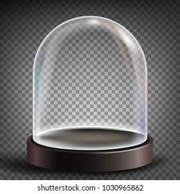 Glass Dome. Exhibition Design Element. Sphere Lid. Realistic Illustration