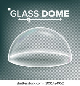 Glass Dome. Exhibition Design Element. Half-Sphere Lid. Empty Glass Crystal Dome. Realistic  Illustration