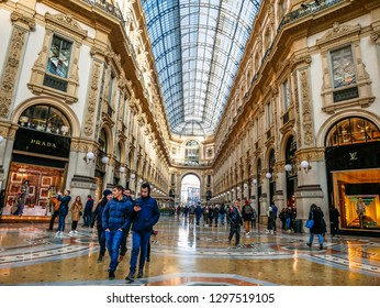 Glass dome of Galleria Vittorio Emanuele in Milan, Italy-January 2019