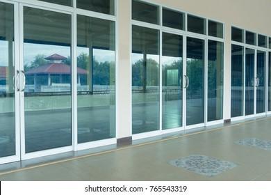 glass door office and handle
