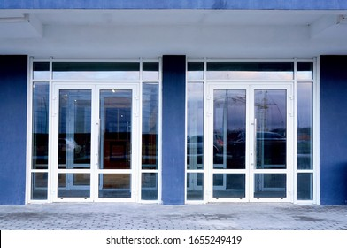 Glass doors of entrance in modern building.