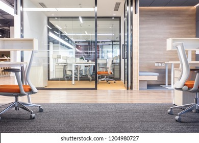 Glass doors and windows and empty seats,fashion and modern office interiors