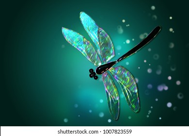 Glass dragonfly with effect of holography  on a green background with patches of light