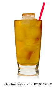 Glass of drink with ice, isolated on white background.