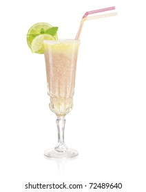 glass of drink on white