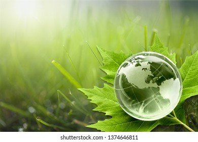 Glass earth and Green Planet concept