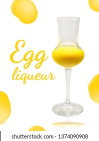 Glass of egg liqueur isolated on white background with yolks and text: Egg liqueur