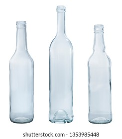 glass empty bottles on white background