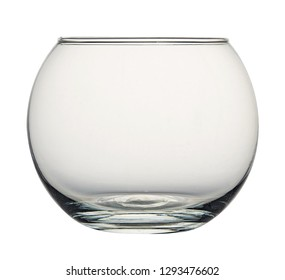 Glass empty container round shape isolated on white background. Front view.