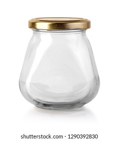 Glass empty jar isolated with clipping path