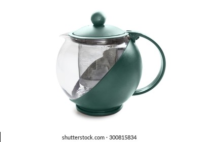 Glass empty teapot isolated over white