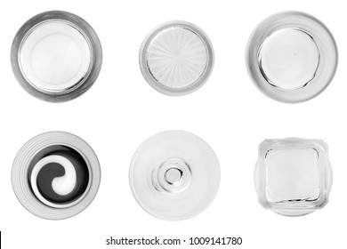 glass empty  view bottom isolated on white background.set.