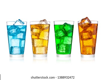 Glass of energy carbonated soda drink with ice on white background.Blue, orange and green color