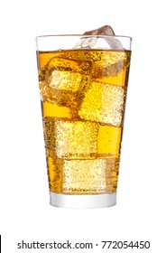 Glass of energy carbonated soda drink with ice on white background