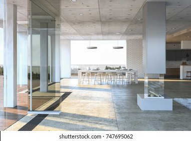 Glass entrance to a modern concrete house with white dining table and chairs against brick wall. 3D rendering.