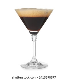 Glass of Espresso Martini on white background. Alcohol cocktail