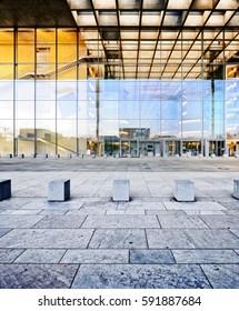Glass Facade of German Bundestag Building, Paul-Löbe-Haus, Berlin, Germany Public Building shot from public ground - no PR needed