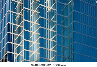 Glass facade of highrise office building