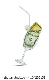 glass filled with dollar bills, isolated on white