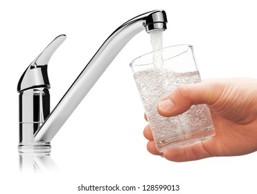 Glass filled with drinking water from tap, isolated on the white background.
