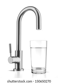 Glass filled with drinking water from tap