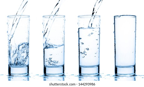 glass is filling up with water