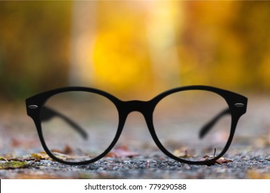 A glass focus background autumn trees
