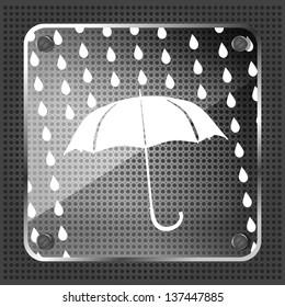 Glass forecast icon on a metallic background