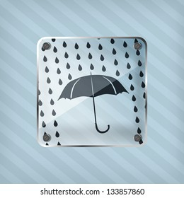 glass forecast icon on a striped background