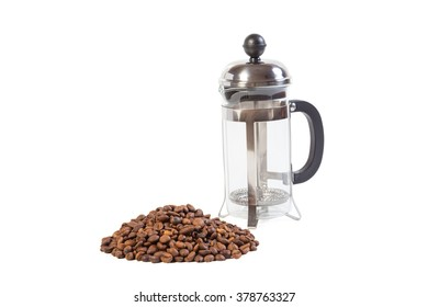 Glass French press with coffee beans isolated on white background
