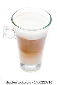 glass of fresh atte coffee isolated on white background with clipping path