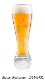 Glass of fresh beer with foam isolated on a white background
