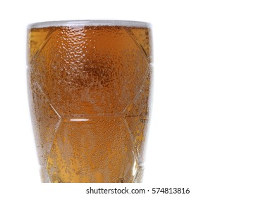 glass of fresh cold beer isolated on white background. clipping path included
